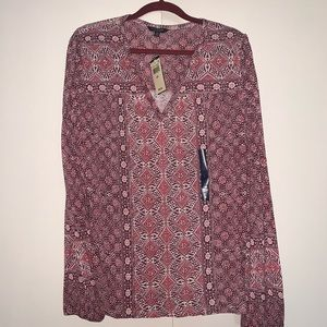 Lucky Brand Printed Split Neck Top Burgundy Multi